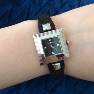 BCBG black leather watch